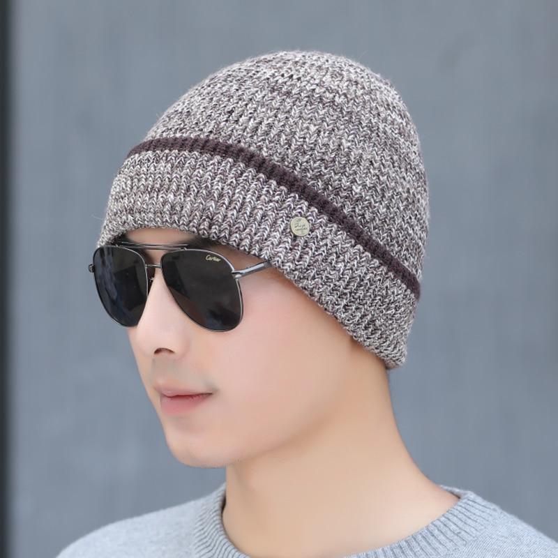 SUOGRY High Quality 100% Cashmere Wool Man Hat Winter Knit Beanie Skullies Warm Winter Male Beanie Plus Velvet Cotton Cap