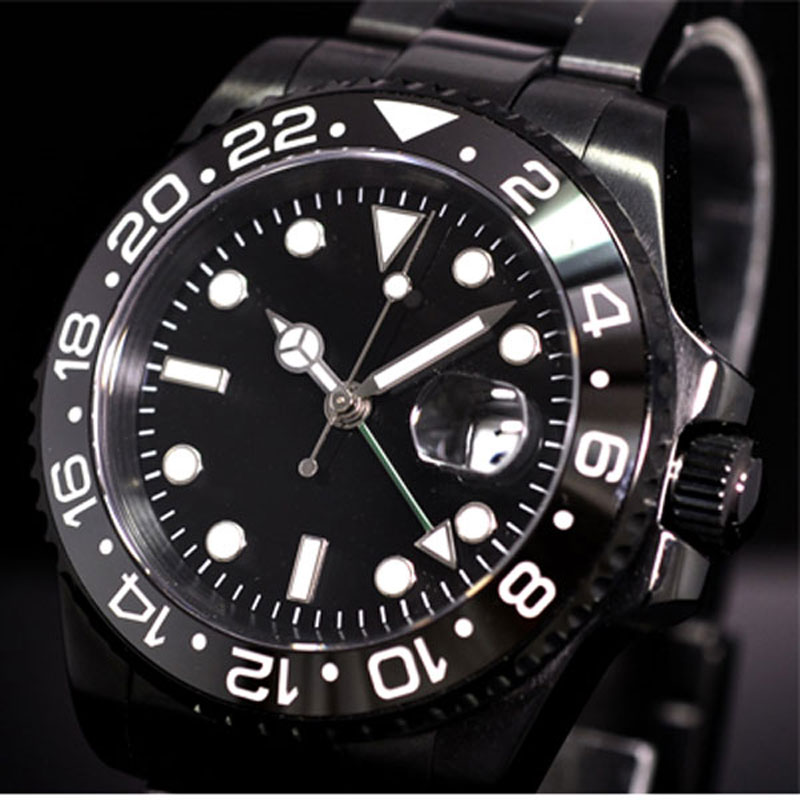 New High Quality 40mm PVD Wristwatch GMT Automatic Movement Men Watch Date Function Mental Strap Sapphire Glass Nologo Dial