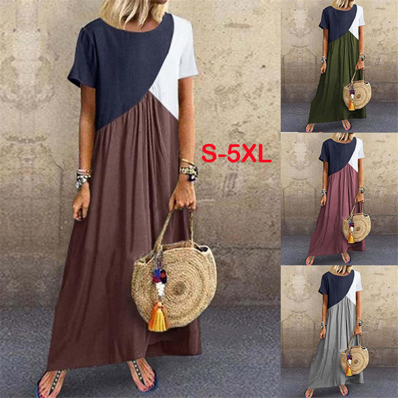 5XL 2020 Summer Long Dress Women Short Sleeve Casual O-Neck Splice Loose Maxi Dresses Female Fashion Plus Size Streetwear Dress