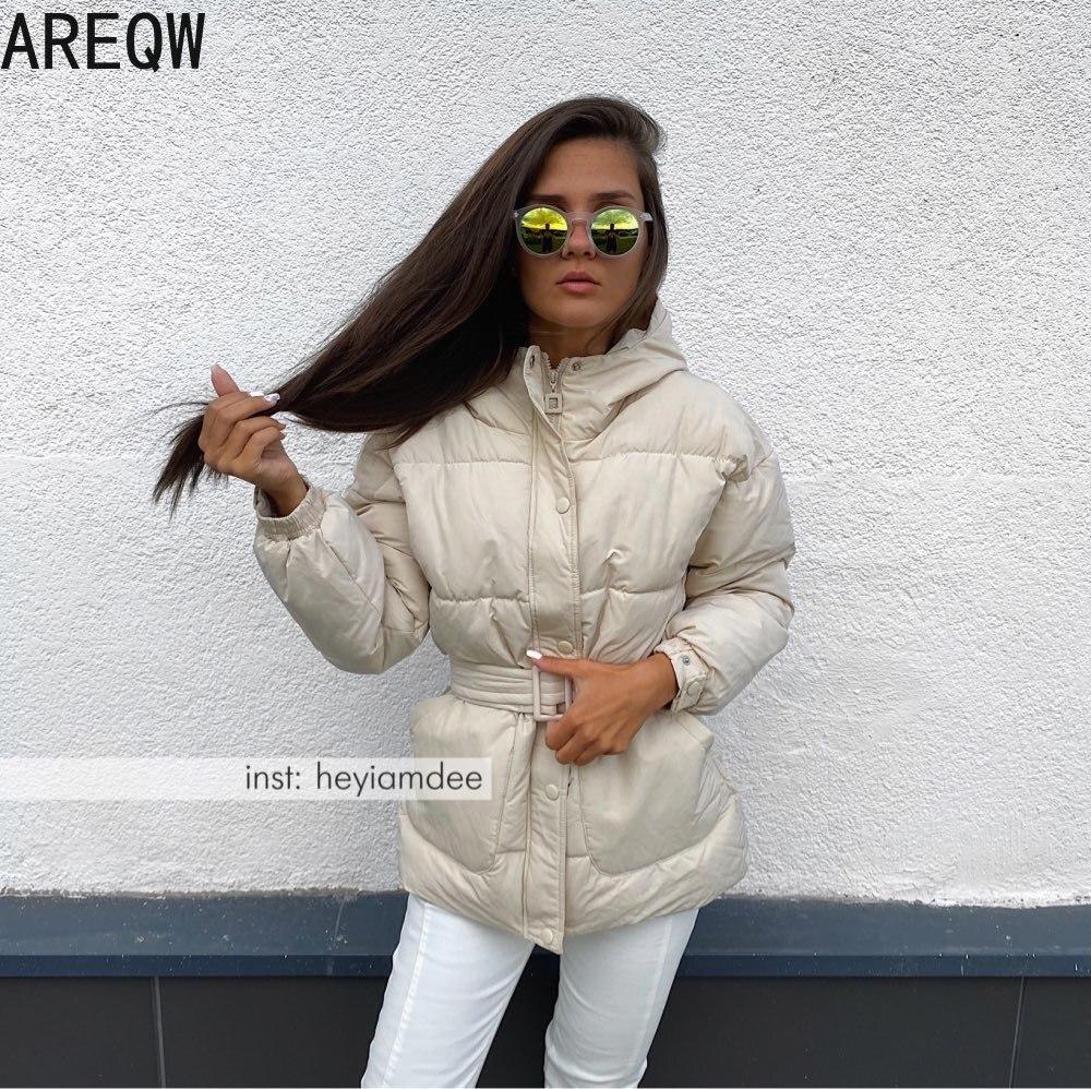 Women Parkas Hooded Zipper Winter Jacket Coat Women Thick Korean Fashion Sashes Jacket White Black Red Beige|Parkas| - AliExpress