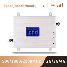 Gsm 3g 4g telefone celular impulsionador banda tri móvel amplificador de sinal repetidor celular gsm dcs wcdma 900 1800 2100 mhz