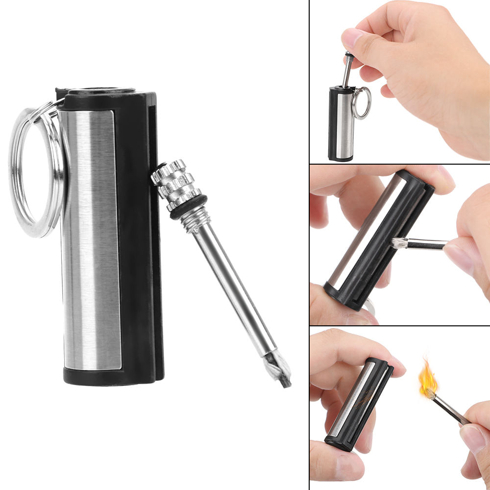 LEEPEE Striker Lighter Stainless Steel Cylindrical Match Auto Interior Accessories Permanent Key Ring Key Chain