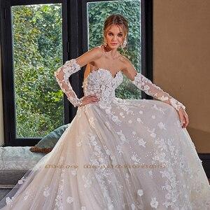 Image 3 - Kristall Appliques Blumen Glänzenden Prinzessin Hochzeit Kleid A Line Mit Abnehmbare Ärmel  China Vestidos De Boda
