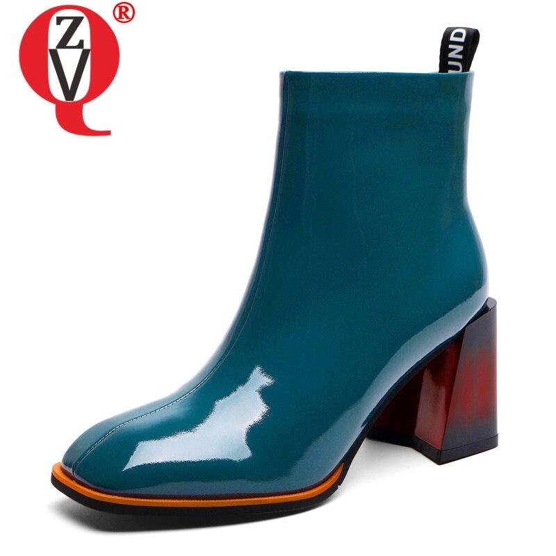 ZVQ/Женская обувь из натуральной кожи 2019 г. Осенне зимние офисные ботильоны синего и черного цвета размеры 34 40, ботинки на высоком каблуке 6 см с квадратным носком|Полусапожки|   | АлиЭкспресс - Женская обувь