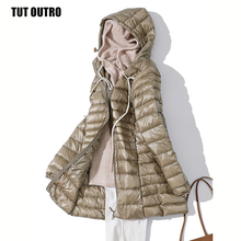 Padded Hooded Jackets Coat Parkas White-Duck-Down Ultra-Light Female Slim Woman Winter