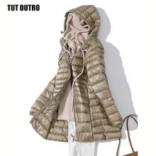 7XL Winter Woman wyściełana długa kurtka z kapturem biała kaczuszka żeński płaszcz Ultra lekkie cienkie solidne kurtki płaszcz przenośne parki tanie tanio CN (pochodzenie) Zima WOMEN Women ultra light down jacket long 350g-450g Na co dzień Kieszenie W każdym wieku 35-45 lat