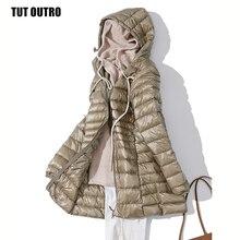 Manteau dhiver femme Long, rembourré à capuche, 7XL, manteau féminin en duvet de canard blanc, Ultra léger, mince, solide, Portable