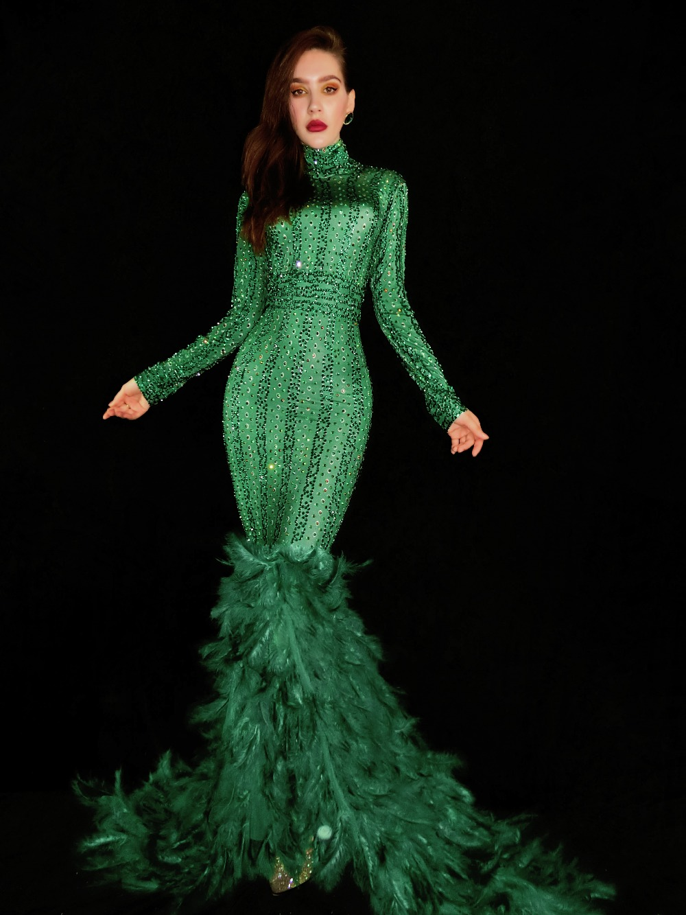 Green Rhinestones Feather Tail Sexy Long Dress Birthday Celebrate Outfit Prom Party Wear Female Singer Dresses
