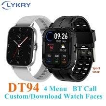 Lykry 2021 1.78 polegada relógio inteligente dt94 tela cheia bt chamada longa espera das mulheres dos homens smartwatch monitor de freqüência cardíaca pk y20 gts2 p8
