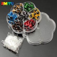 JIMITU 70 шт. 12 мм 10 мм микс 7 цветов пластиковые куклы глаза защитные глаза для DIY плюшевый медведь кукла животное кукла ремесло коробка с шайбами