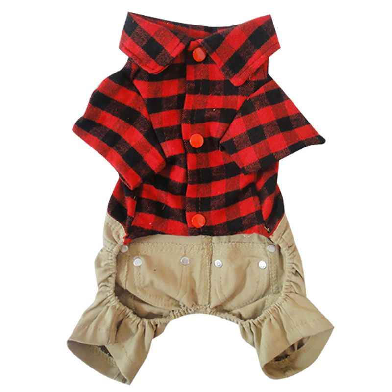 Handsome Dog Jumpsuits British Style Pet Dog Rompers Cloth Winter and Autumn Costume Plaid Shirt Jeans Cloth Pet Dog Supplies ZA