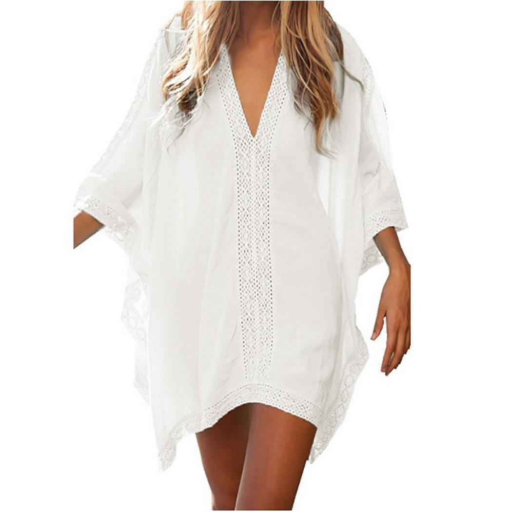 Women V-neck Stitching Beachwear Bat Sleeve Bikini 3/4 Casual Cover-ups Beach Casual Hollow Patchwork Dress