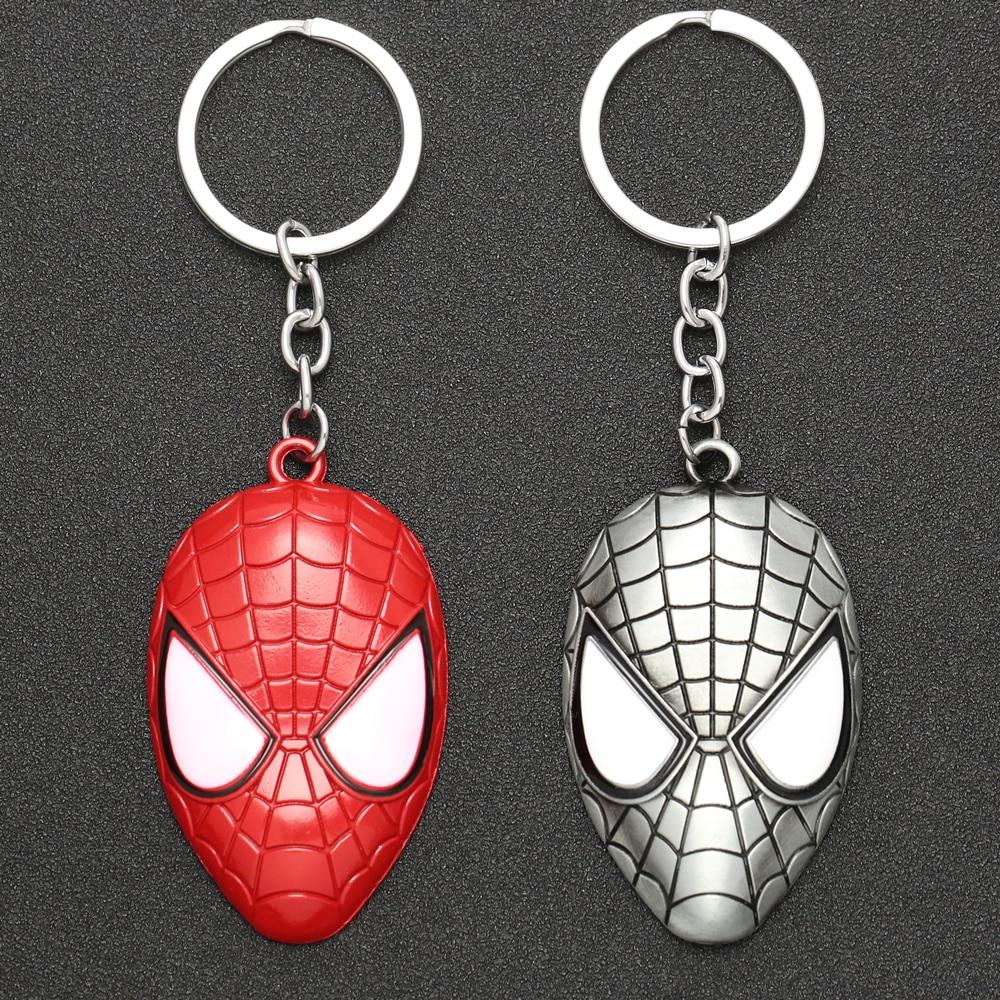 Spiderman Keychain Spider Man Superhero Mask Peter Parkers Keyring Key Holder Chain Ring Marvel Movie Jewelry Men Boy Wholesale