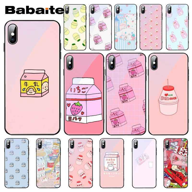 Babaite かわいい日本のイチゴミルクボックス強化ガラス電話ケース iphone 11 プロ XS 最大 XR 8 × 7 6S 6 プラス