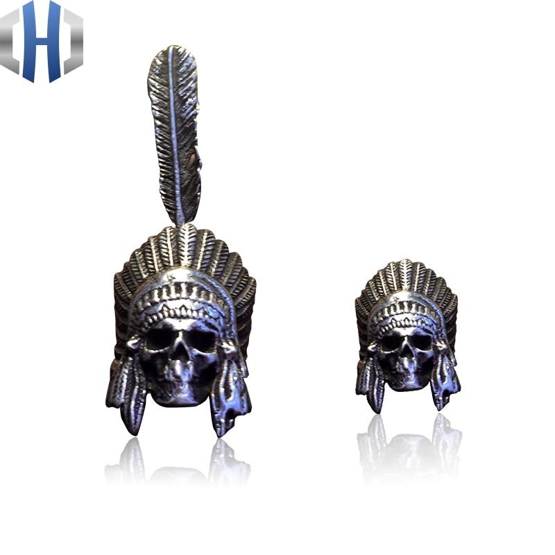 Original Handmade Skull Earrings 925 Sterling Silver Men And Women Personality Feather Earrings in Stud Earrings from Jewelry Accessories
