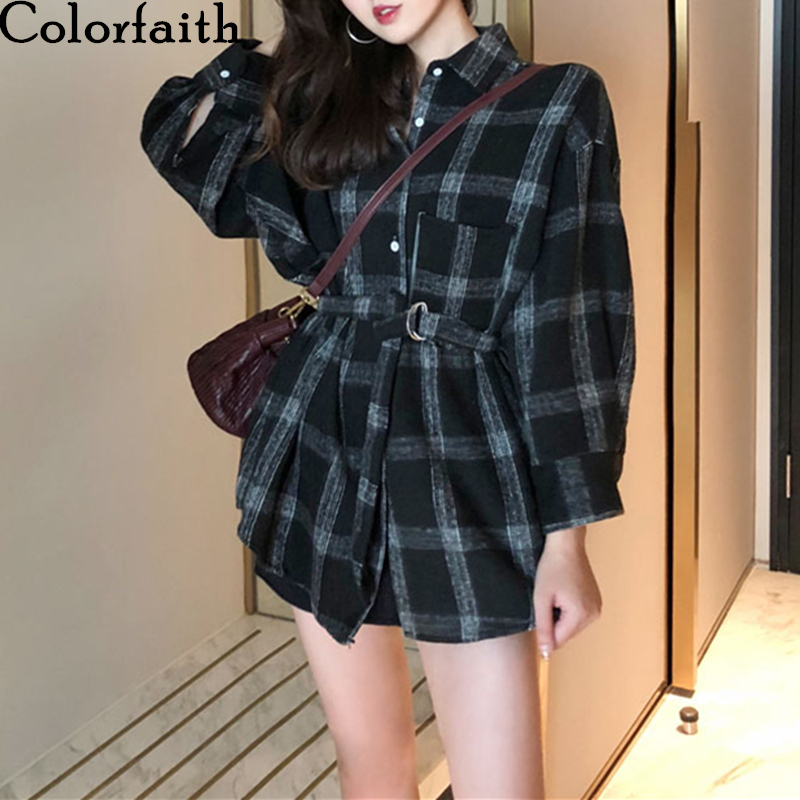 Colorfaith New 2020 Women Spring Autumn Blouse Shirts Plaid Pockets Casual Loose Notched Fashionable Lace Up Lady Tops BL3881