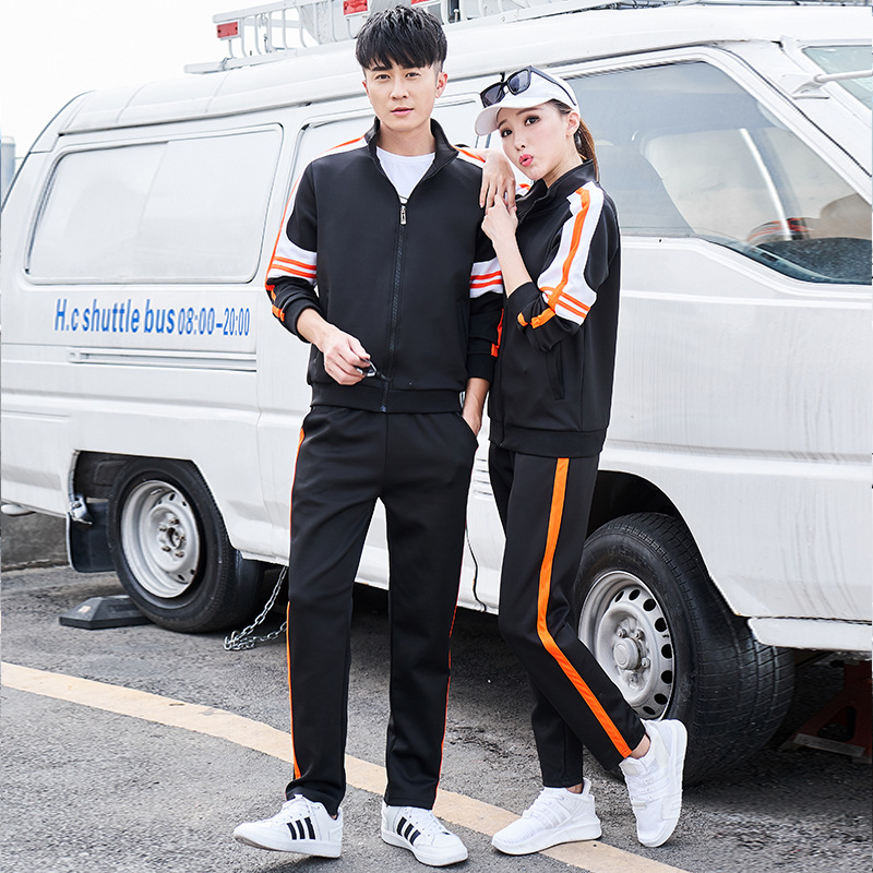 2019 New Style Couples Set Men's Sports Casual Men And Women Sports Clothing Thin Long Sleeve Two-Piece Set Manufacturers Direct