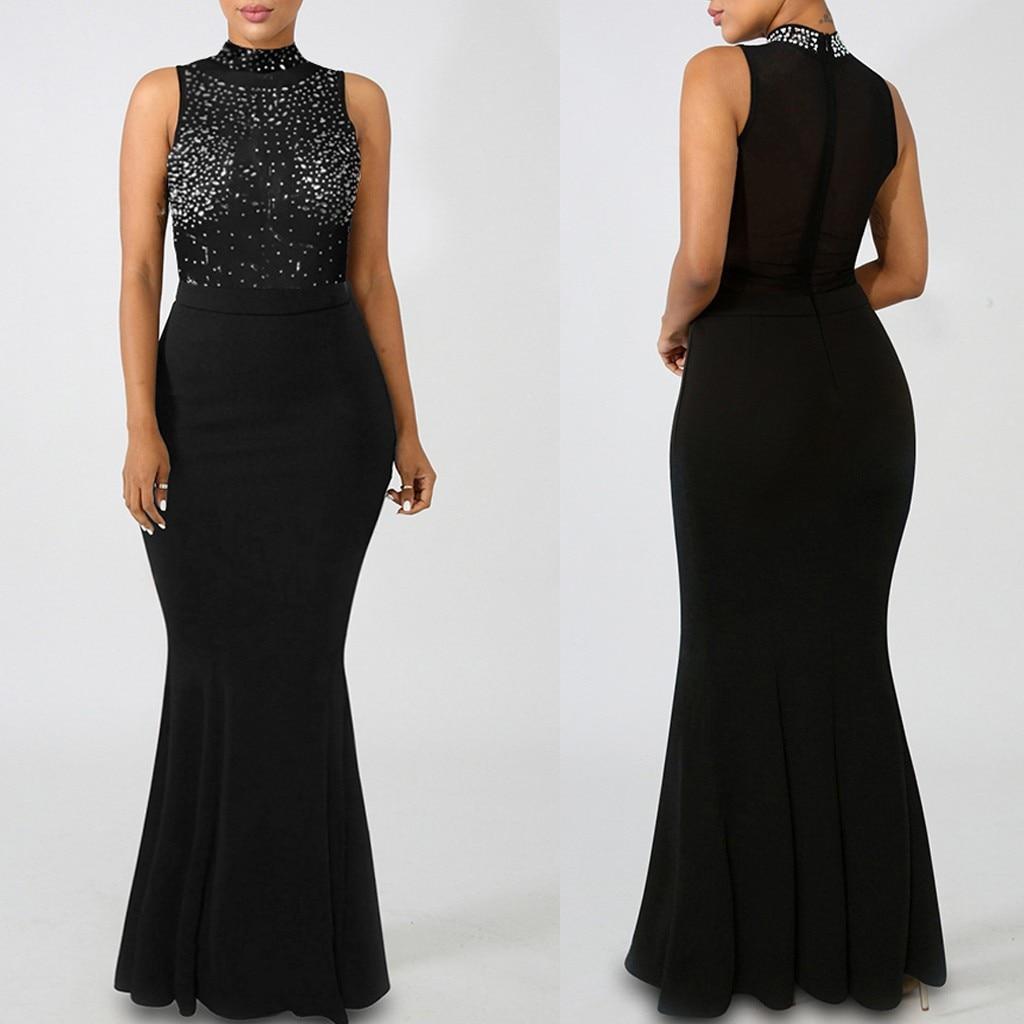 sukienka plus size dress women Fashion Solid Turtleneck Perspective Sexy Zipper winter dress Fishtail Dress vestidos ropa mujer