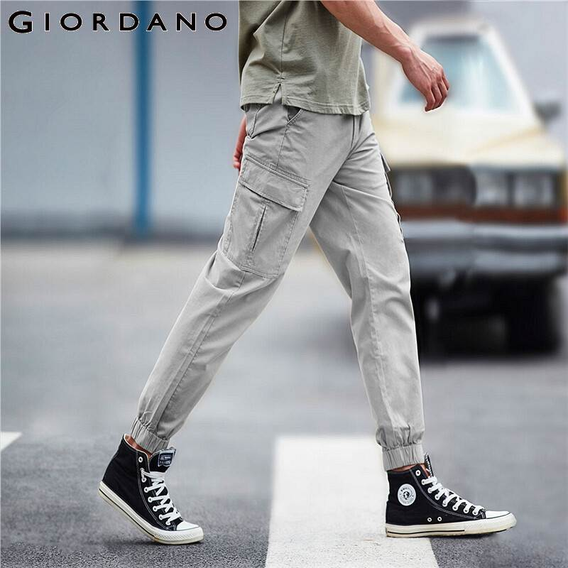 Giordano Men Pants Lightweight Cotton Cargo Pants Multi Pockets Thin Casual Ankle Tied Summer Pantalon Homme 01110081
