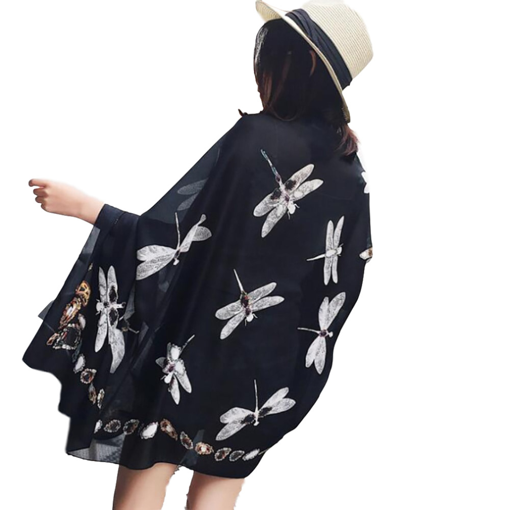 Imitation Silk Scarf Square Hair Scarves Fashion Dragonfly Pattern Neck Scarfs