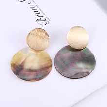 HOCOLE Fashion Shell Pendant Drop Earrings For Women Gold Round Metal Geometric Earring Statement Za 2019 Boho Jewelry Wholesale