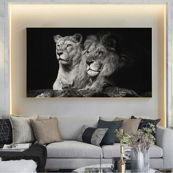 Poster Canvas Painting Modern Wall Art Black Lion Animal Posters and Prints Wall Art Pictures For Living Room Cuadros Home Decor modern nordic elegant ballet dancer canvas painting wall art posters and prints for living room wall pictures home cuadros decor