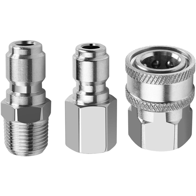 GTBL NPT 3/8 Inch Male And Female Quick Connector Kit Pressure Washer Adapter Set And 1 Pieces NPT 3/8 Inch Pressure Washers Qui