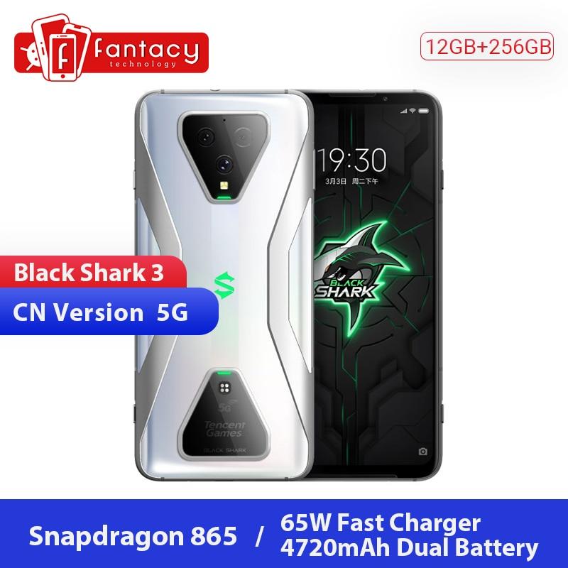 Original Xiaomi Black Shark 3 5G Snapdragon 865 12GB 256GB Game Phone Octa Core 6.67'' AMOLED 64MP Triple Cameras 65W 4720mAh