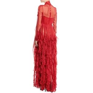 Runway 2020 primavera otoño diseñador mujeres de alta calidad damas plisada de gasa volante rojo pajarita de lunares cuello Maxi vestido