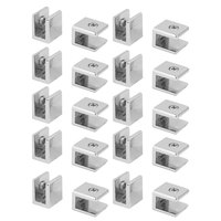 uxcell Zinc Alloy Wall Mounted Adjustable Glass Shelf Clip Clamp Bracket Support 20pcs
