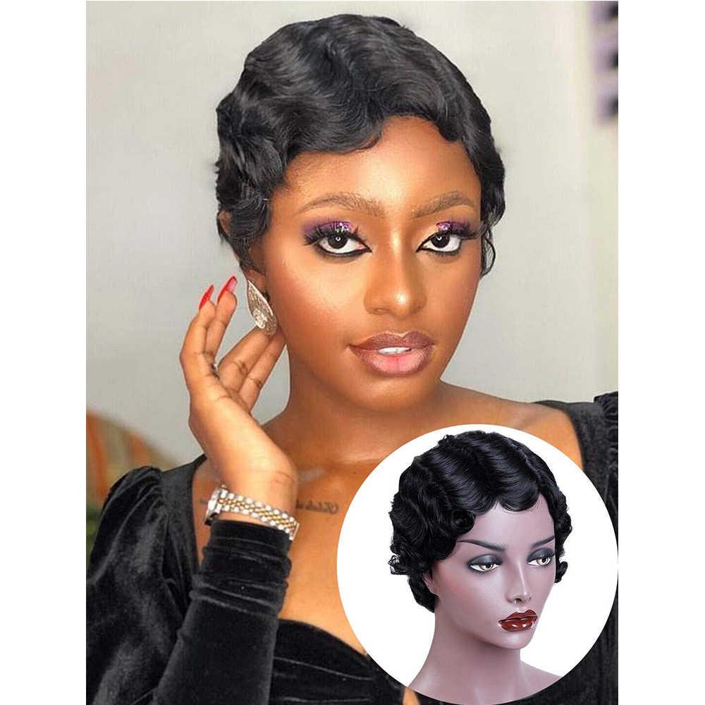 Piaoyi parmak dalga kısa insan saçı peruk olmayan dantel ön peri kesim peruk siyah kadınlar için doğal ve #33 renk 1 /2/3/5/10 adet/grup