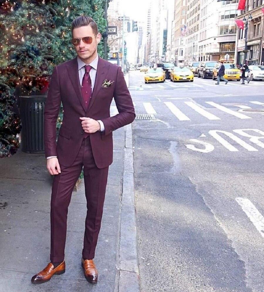 Formal Two Piece Men Suits Custom Latest Burgundy Wedding Groom Tuxedos Tailor-Made Groomsmen Suit Business Wear (Jacket+Pants)