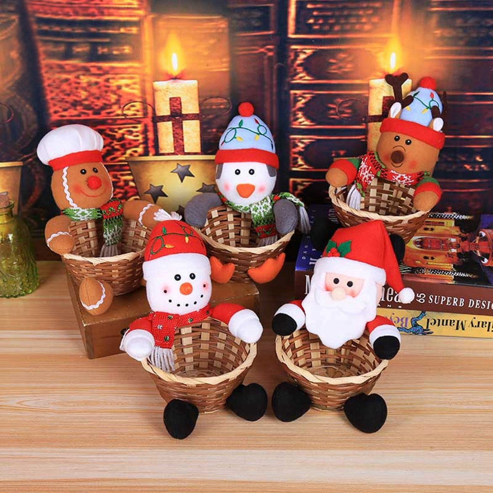 Cute Merry Christmas Candy Fruits Storage Basket Decoration Santa Claus Storage Basket Home Decorations Xmas Party Supplies