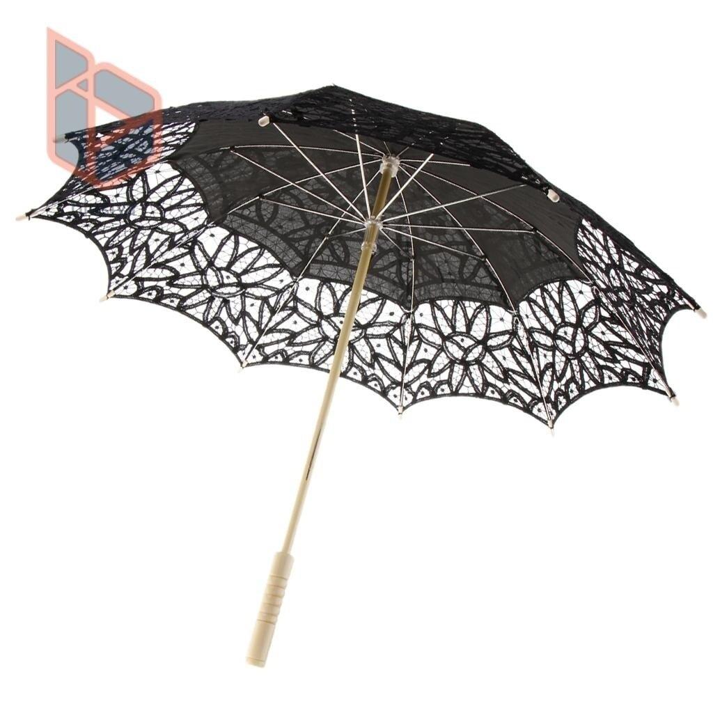 Vintage Handcraft Algod/ón Encaje Parasol Paraguas Boda Nupcial Negro