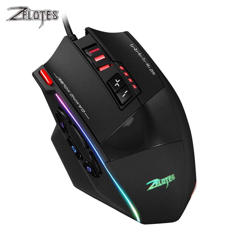 ZELOTES C-13 Проводная игровая мышь 10000DPI 13 программируемых кнопок USB RGB лазерная компьютерная мышь геймер мышь для настольного ноутбука