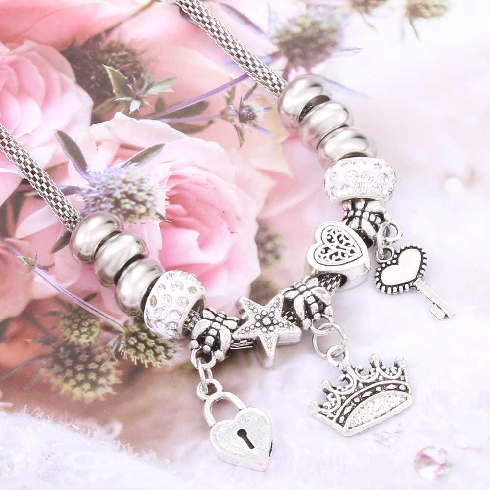 Antyczny oryginalny korona klucz kształt zamka 6 kolorów naszyjnik charms dla kobiet paciorki szklane marki sweter łańcuch i naszyjnik DIY biżuteria