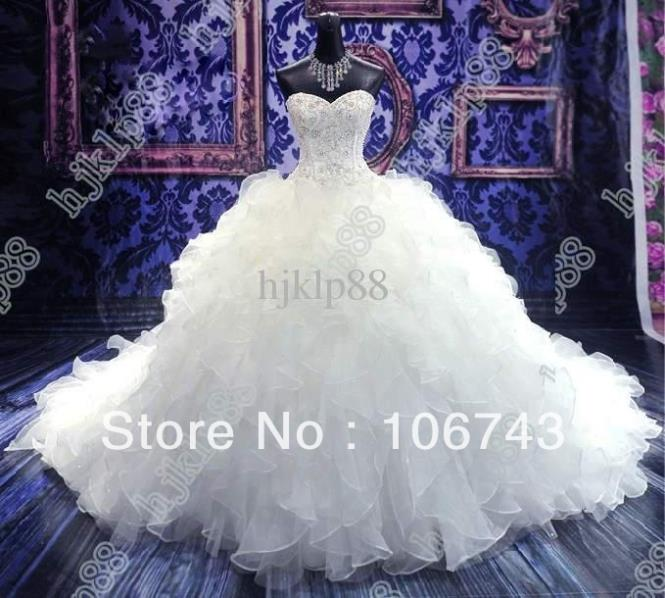 Vestido De Noiva Casamento 2016 Cathedral Gown Luxury Ruffles Beading Organza Bridal Gown Sweetheart Wedding Dress Free Shipping