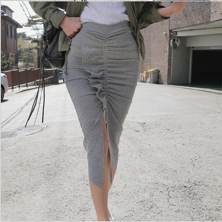 19 Spring New Style Casual Elegant Versatile Solid Color Pleated Front Slit Sexy Sheath Skirt