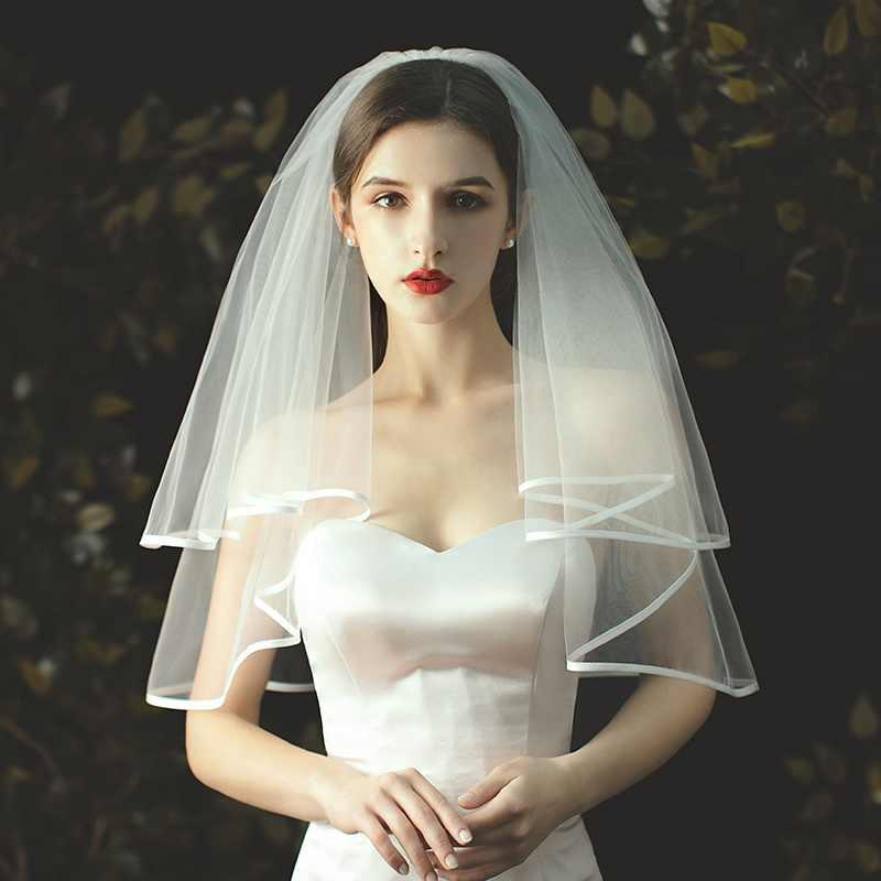 1 قطعة العروس الزفاف قصيرة الكتف طول الحجاب العروس فستان الزفاف طرحة زفاف حساسة هيمينغ الزواج اكسسوارات Kyy9053 طرح الزفاف Aliexpress