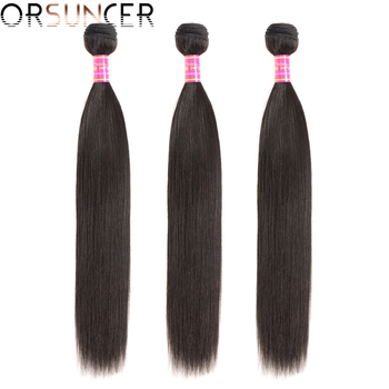 ORSUNCER Peruvian Straight Long 26 Hair Bundle Medium Ratio Inch Non-Remy Human Hair Bundles 1/3/4 PC Natural Color image