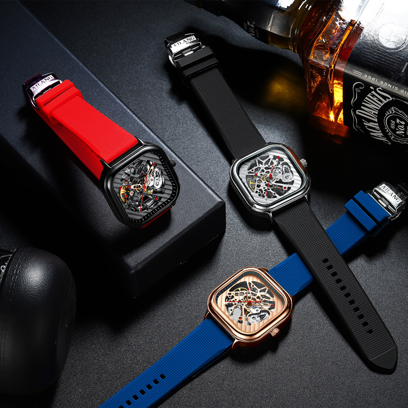 2020 new men's automatic watch top brand luxury silicone strap hollow Swiss square top ten watches 5