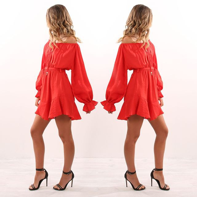 2019 Summer new Women Slash Neck Wide Shoulder Strapless Sweet Dress Puff Sleeve Long Sleeve Solid Color Loose sexy Sashes dress in Dresses from Women 39 s Clothing