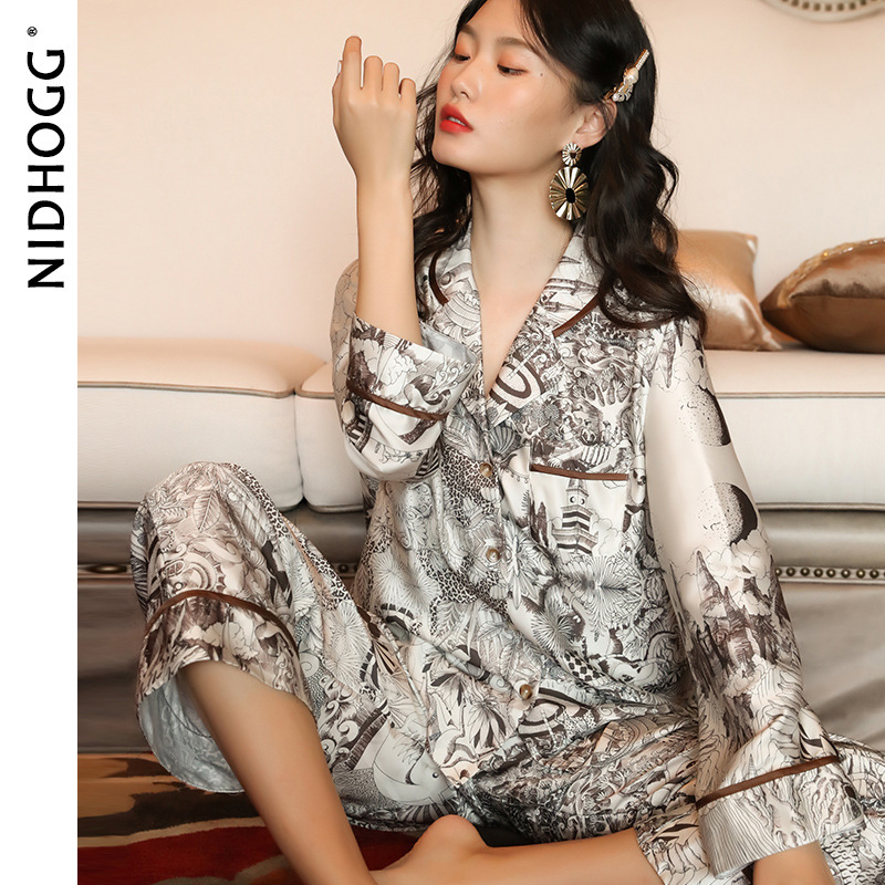 New Elastic Satin Pajamas Autumn Fashion Loose Print Long sleeved Sleepwear Luxury Pajamas for Women 2 Piece Set Sexy Nightwear|Pajama Sets| - AliExpress