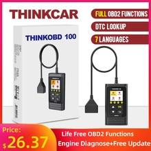 Thinkcar thinkobd 100 funções obd2 completa ferramenta de diagnóstico do varredor do carro dtc lookup vin ao vivo redefinir a luz do motor diagnóstico