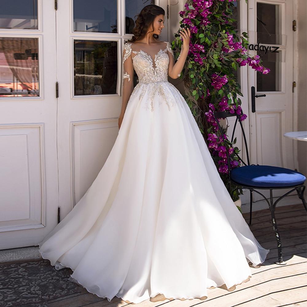 Custom Made Appliques Beading Long Sleeve Wedding Dresses Boho Aliexpress Login Sukienka Elegancka Tulle Bridal Gowns China