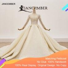 HTL1367 ビッグスパンコールウェディングドレス長袖花嫁ドレスきらめきのウェディングドレス 2020 プリーツプラスサイズtrouwjurken