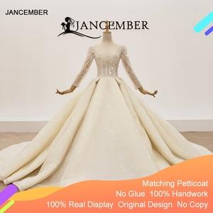 Image 1 - HTL1367 גדול נצנצים שמלת כלה ארוך שרוול הכלה שמלת נצנצים חתונה שמלת 2020 קפל בתוספת גודל trouwjurken