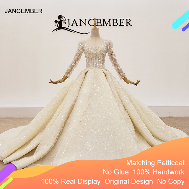 HTL1367 גדול נצנצים שמלת כלה ארוך שרוול הכלה שמלת נצנצים חתונה שמלת 2020 קפל בתוספת גודל trouwjurken