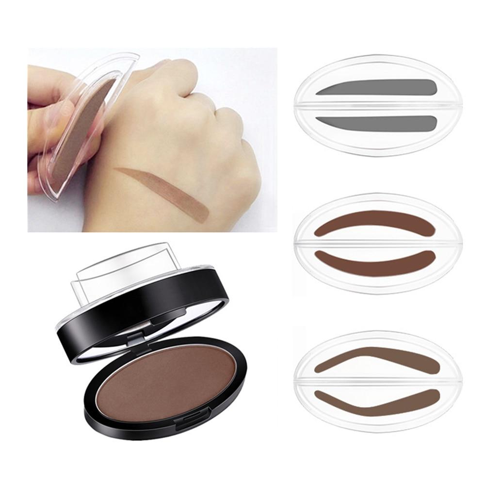 9 опциональных ленивых штампов для бровей, быстрый макияж для бровей, пудра, паллетка, натуральная, легко носить, серая, коричневая пудра для ...