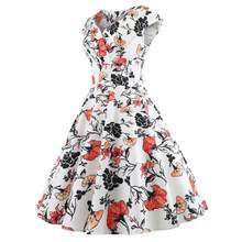 3124 Photo Shoot Wish Amazon Hot Selling Retro Hepburn Wind 50SV Collar Short Sleeved Expandable Printed Dress(China)
